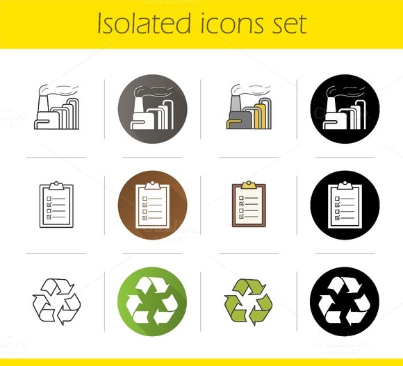 Environment pollution icons. Vector - Icons