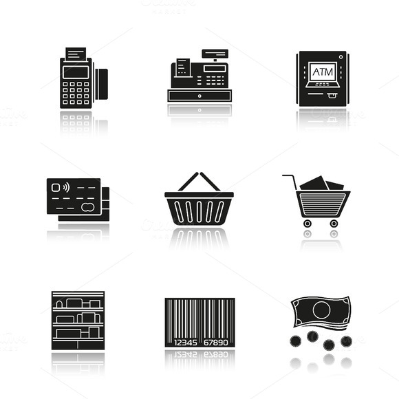 Supermarket. 9 icons. Vector - Icons