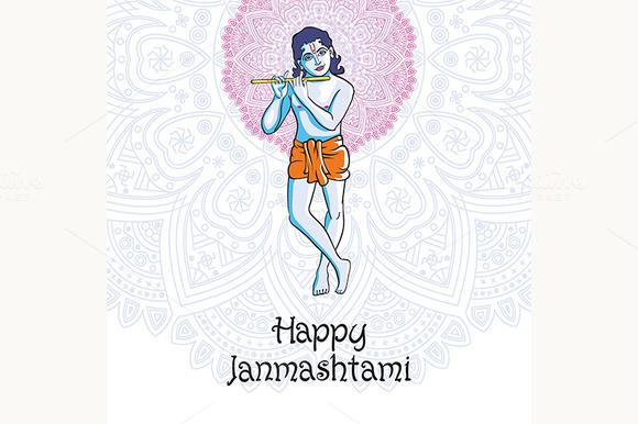 Happy Janmashtami. Krishna playing - Graphics