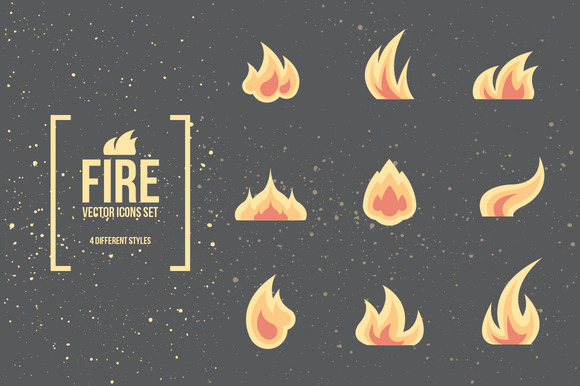 Fire and Flames. Vector Icons. - Icons