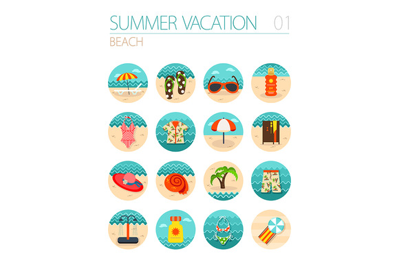 Beach icon set. Summer. Vacation - Icons