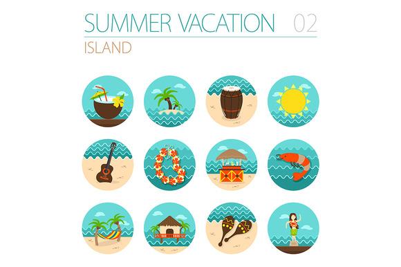 Island beach icon set. Vacation - Icons