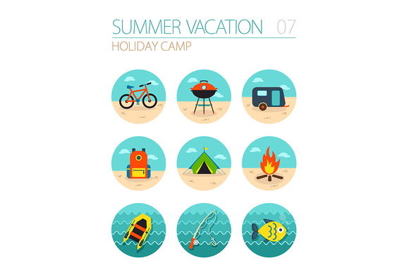 Summer camping icon set. Holiday - Icons