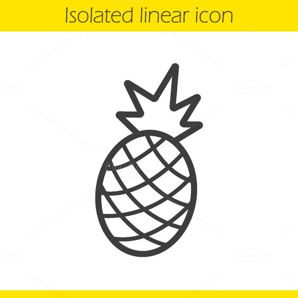 Pineapple linear icon. Vector - Icons