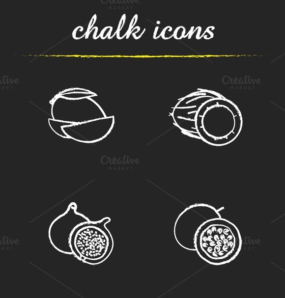 Fruit. 4 icons set. Vector - Icons
