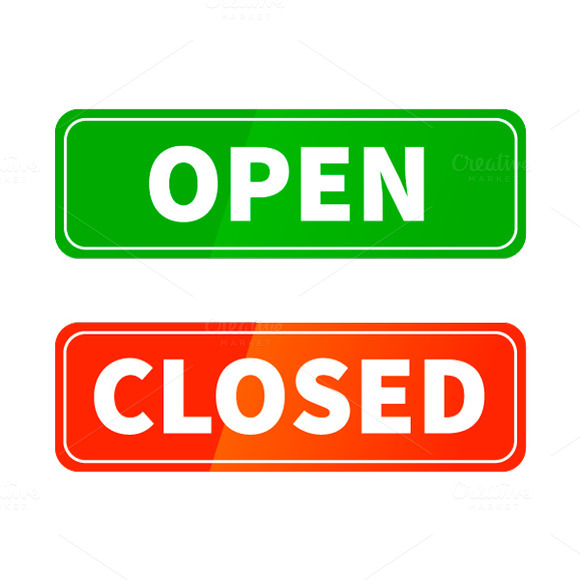 Stock graphic open and closed glossy signs for Open closed sign template