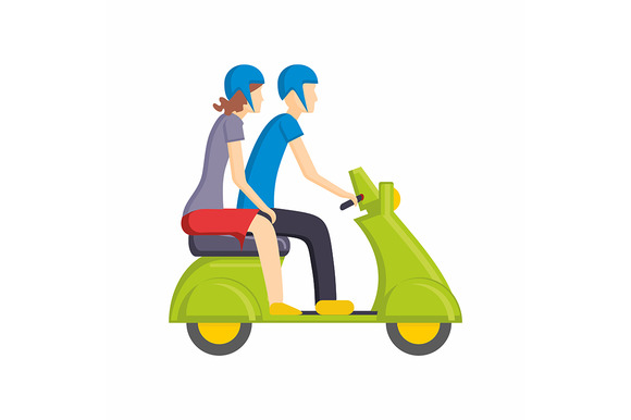 Man And Woman On A Moped Or Scooter