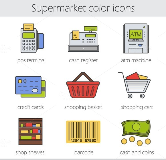 Supermarket. 9 color icons. Vector - Icons