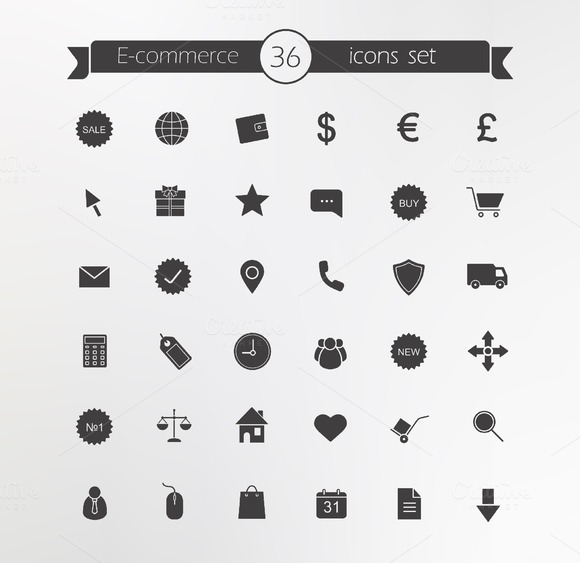 E-commerce. 36 icons. Vector - Icons