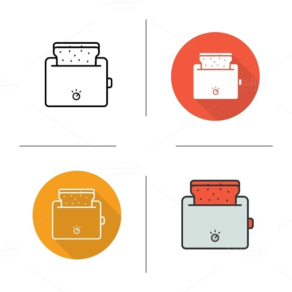 Toaster. 4 icons. Vector - Icons