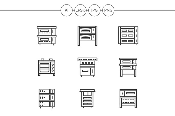Ovens and stoves line icons. Set 1 - Icons