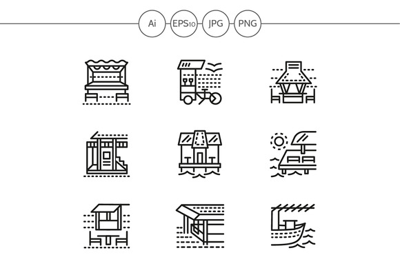 Cafe and bungalows line icons. Set 1 - Icons