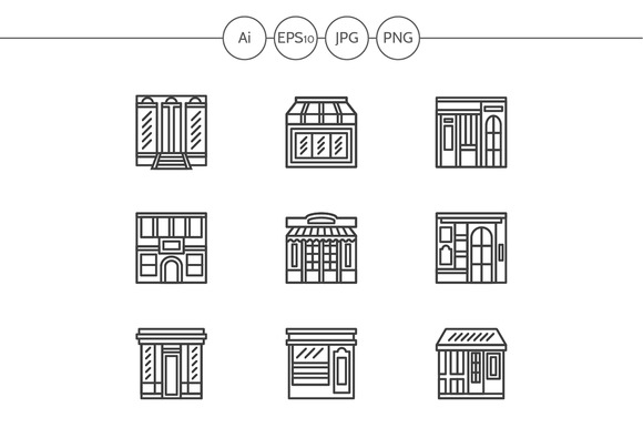 Store And Cafe Fronts Line Icons