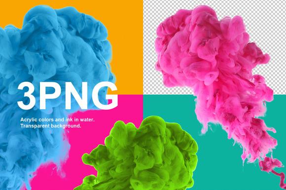 Acrylic colors. Transparent. PNG - Textures
