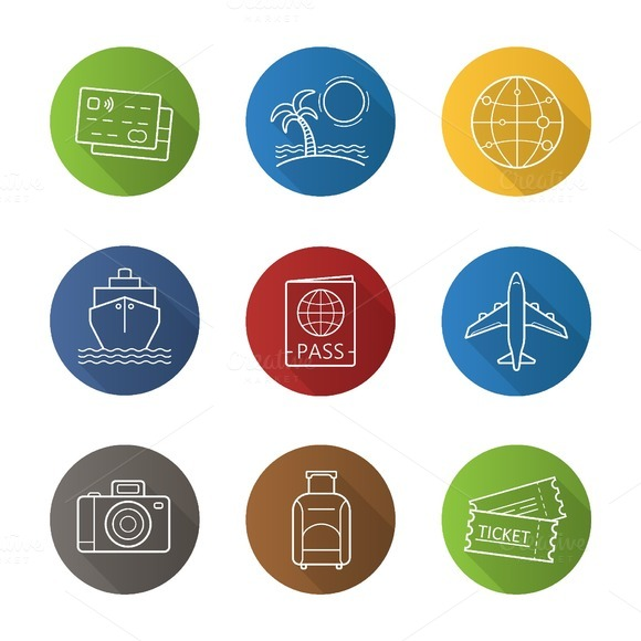 Travelling. 9 icons. Vector - Icons