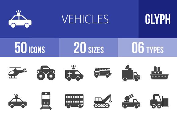 50 Vehicles Glyph Icons