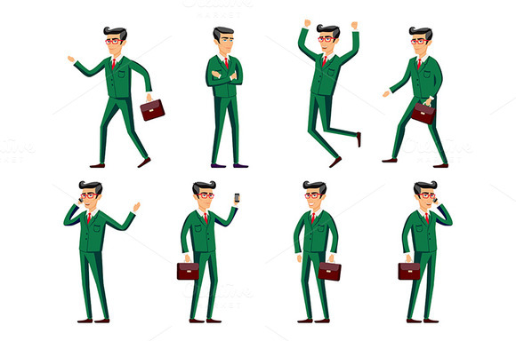 businessman in green suit. poses - Graphics