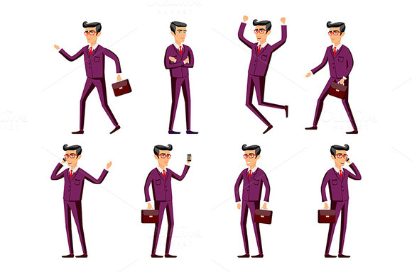 businessman in a maroon suit. poses - Graphics
