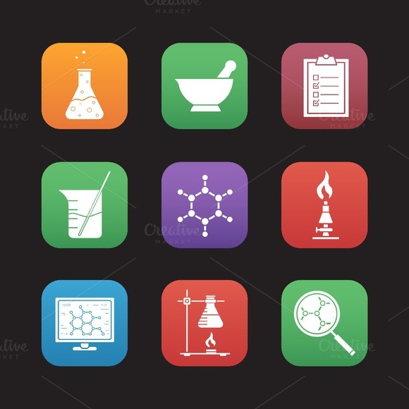 Chemical laboratory. 9 icons. Vector - Icons