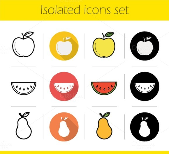 Fruit. 12 icons set. Vector - Icons