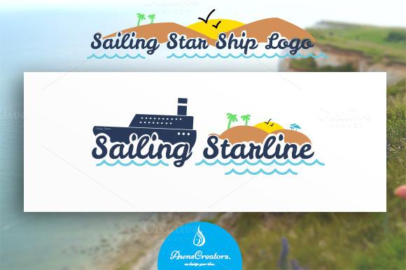 Sailing Star Ship Logo