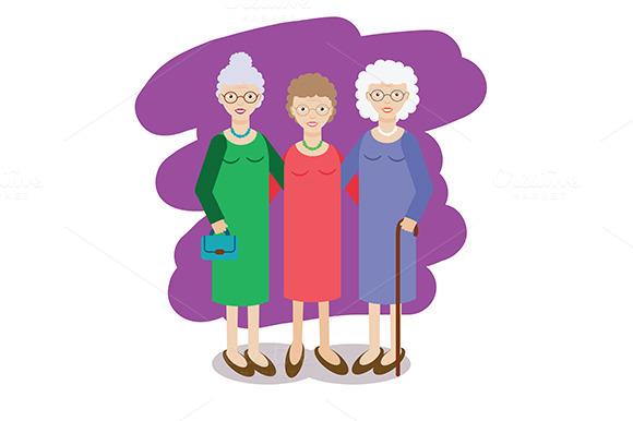 Group of aged ladies. Grandmothers - Illustrations