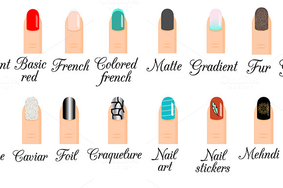 Manicure styles. Nail art, design - Illustrations