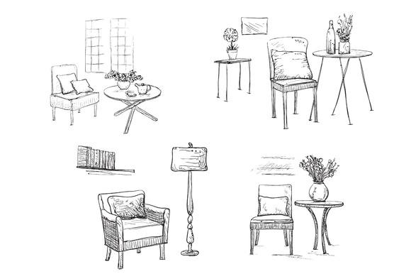 Hand drawn interior. Chair sketch - Illustrations