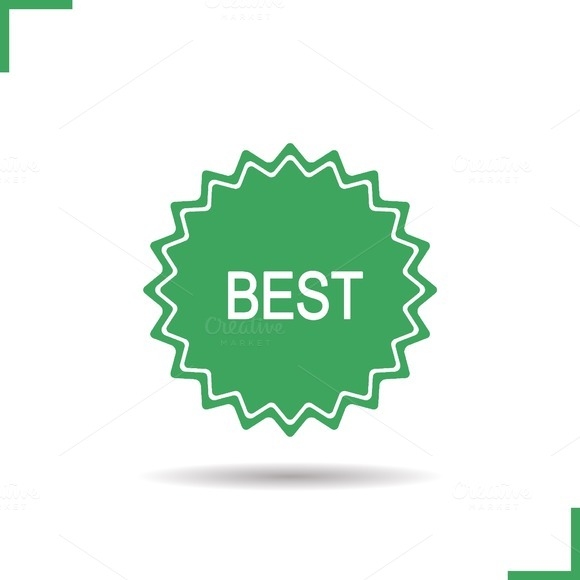 Best green sticker icon. Vector - Icons