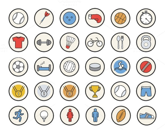 Active sport games. 36 icons. Vector - Icons