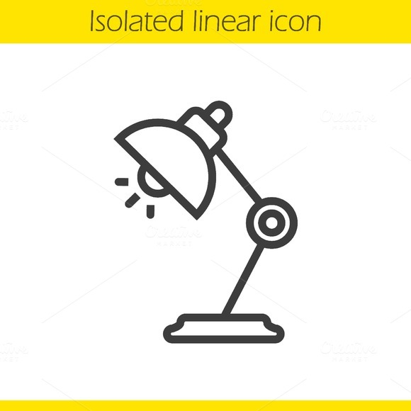 Table lamp linear icon. Vector - Icons