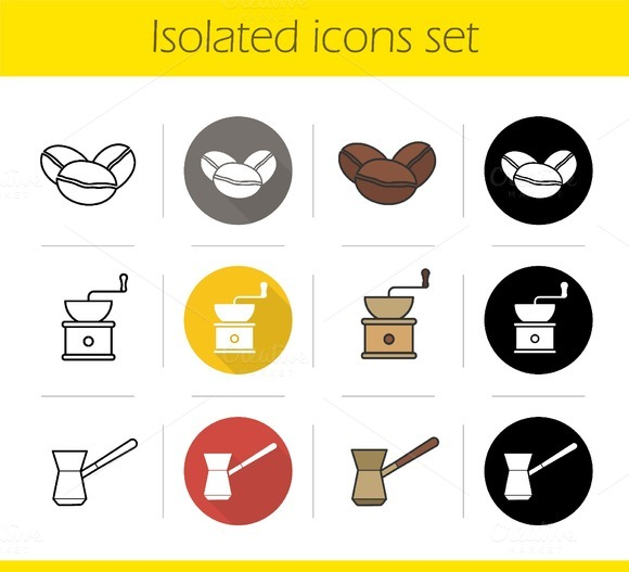 Coffee. 12 icons. Vector - Icons