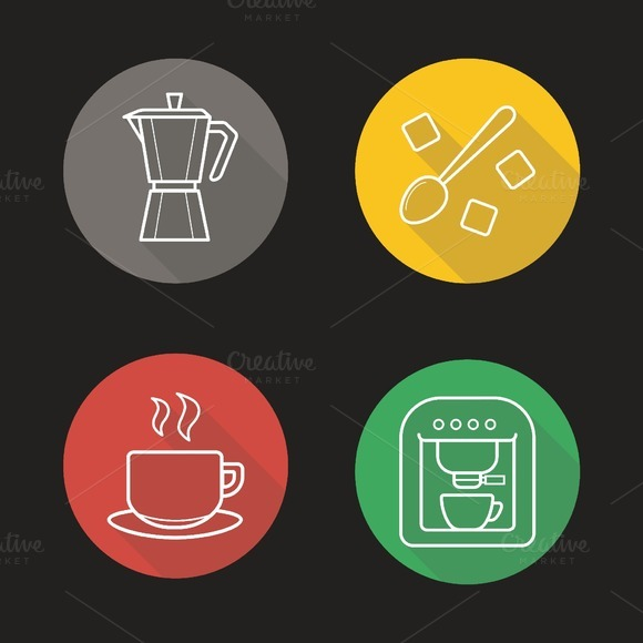 Coffee. 4 icons. Vector - Icons