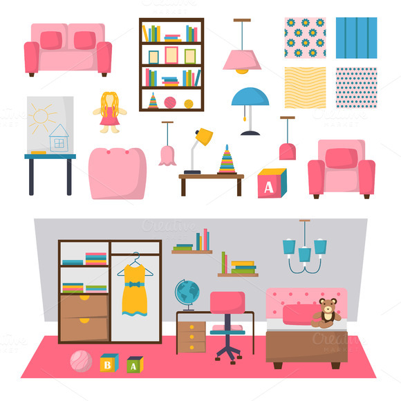 Kids Room Interior Vector Set