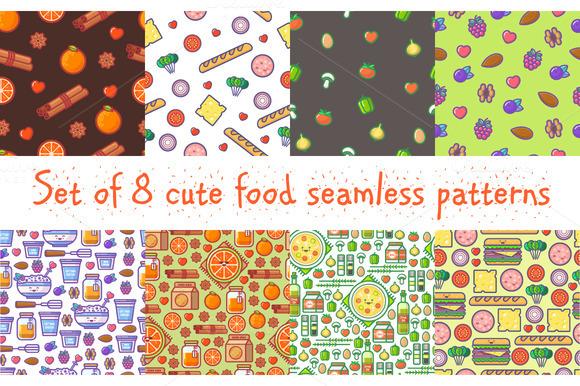 Set Of 8 Food Patterns
