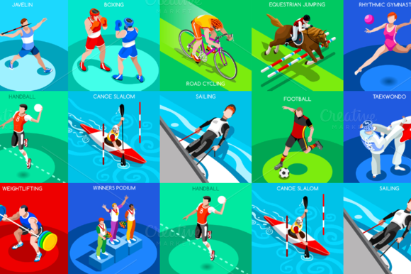 Olympic Rio 2016 Set 3 3D Isometric