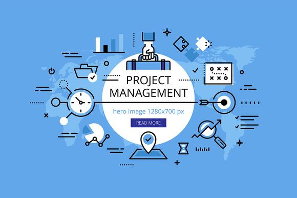 Project Management Hero Banner Set Web Elements On