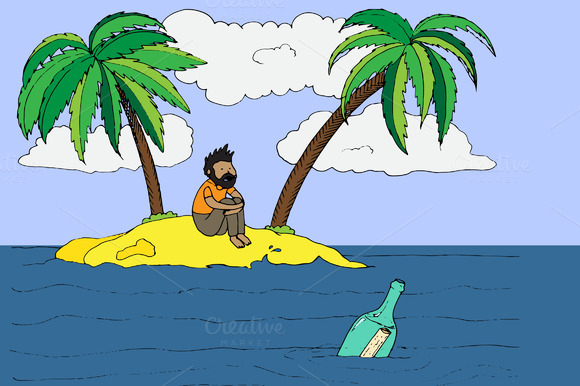 Lonely Man On A Desert Island