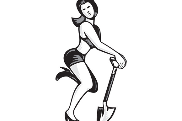 Pin-up Girl With Shovel Spade Retro