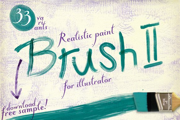 33 Realistic Paint Brushes For AI 矢量文件繪畫筆刷