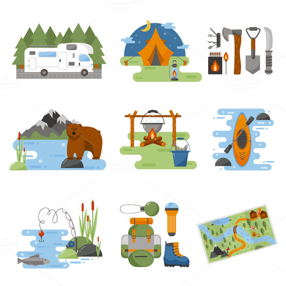 Camping Equipment Vector Icons