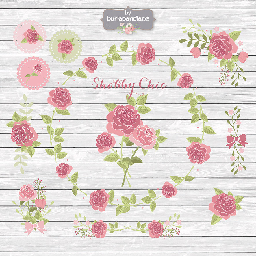 Shabby chic rose cliparts ~ Illustrations on Creative Market