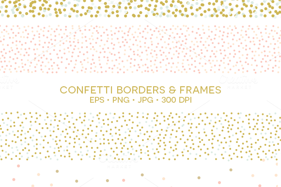 Confetti Borders and Frames ~ Illustrations on Creative Market