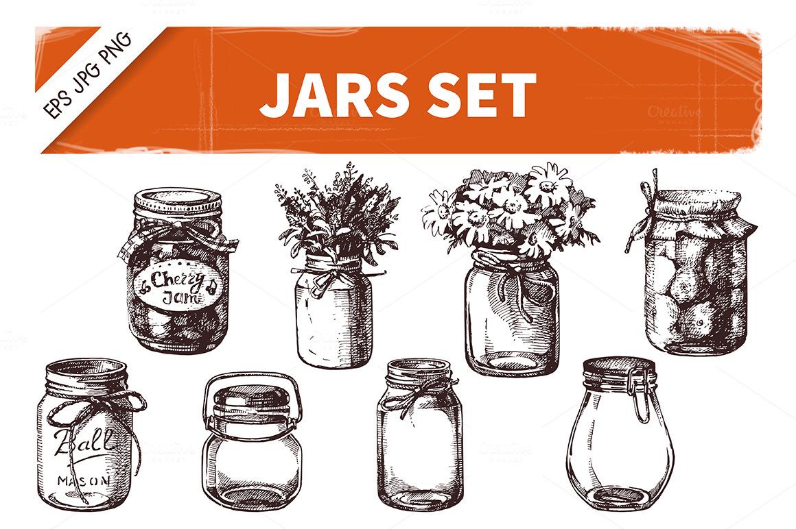Jars Drawing Hand Drawn Sketch Vintage Jars