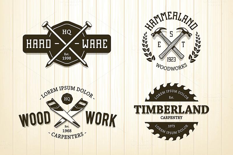 Vintage Carpentry Emblems Logo Templates On Creative Market