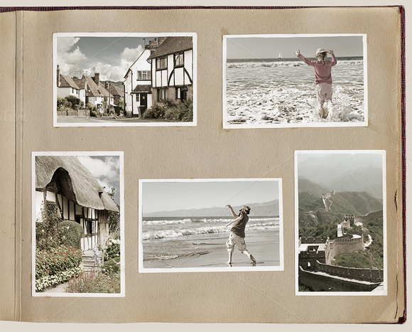 old fashioned photo album presentation templates on creative market. Black Bedroom Furniture Sets. Home Design Ideas