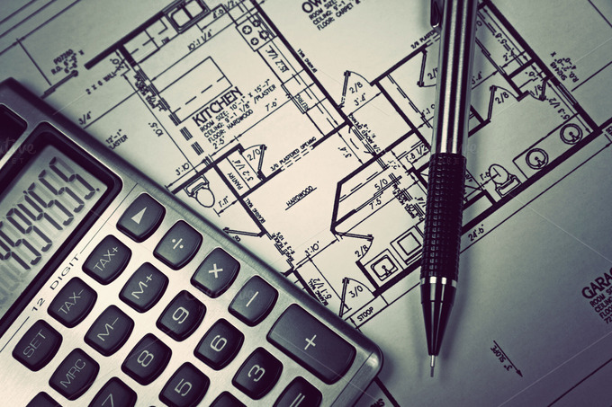 Calculator and blueprint business photos on creative market for Blueprint estimator