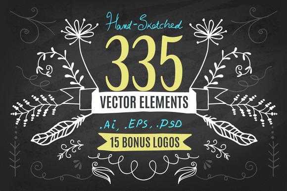 CM - Hand-Drawn Vector Kit + 15 Logos 62746