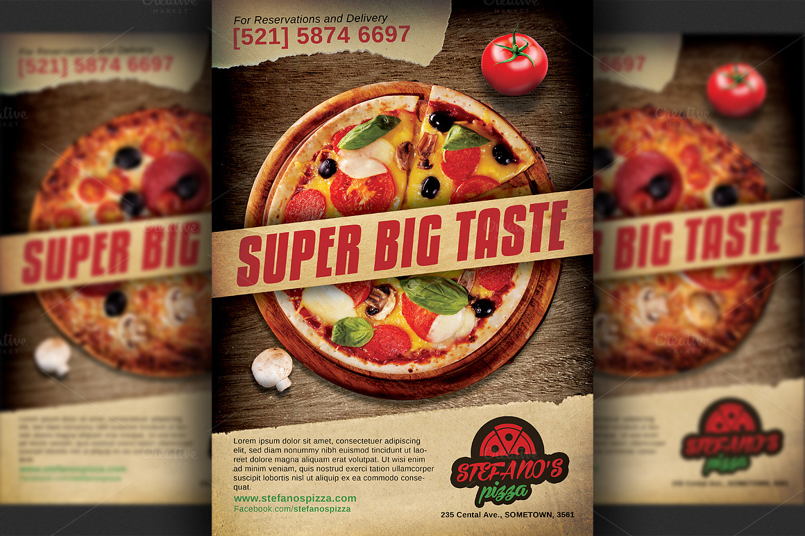 Pizza Restaurant Advertising Flyer Templates On