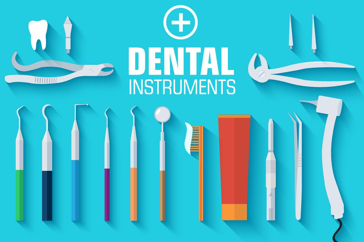 Flat Medical Dental Instruments Illustrations On